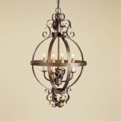 By Currey Lighting-Coronation Sphere Collection Cupertino/Gold Leaf Finish Pendant