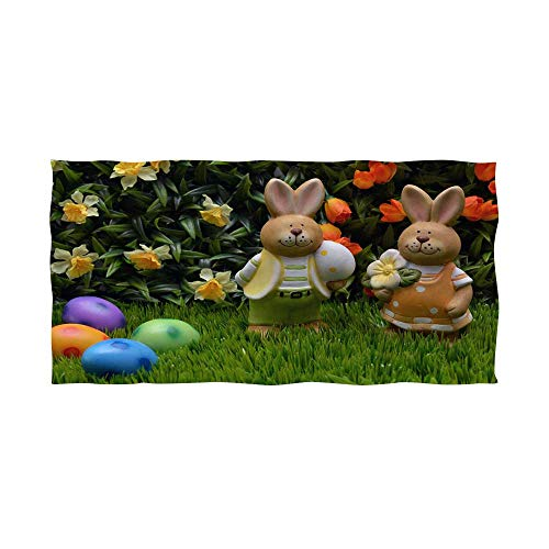 bath towel custom colorful easter eggs and easter rabbit 1 -