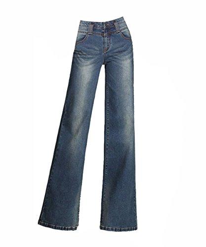 Femme lgantes Pantalons de Denim Jambe Large Dcontracte Jupe-Culotte Pants Bootcut Jean Bleu Royal