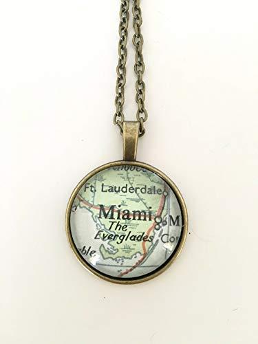 Fort Lauderdale Hialeah Miami Florida USA Map Pendant Bronze Necklace Atlas GH-460