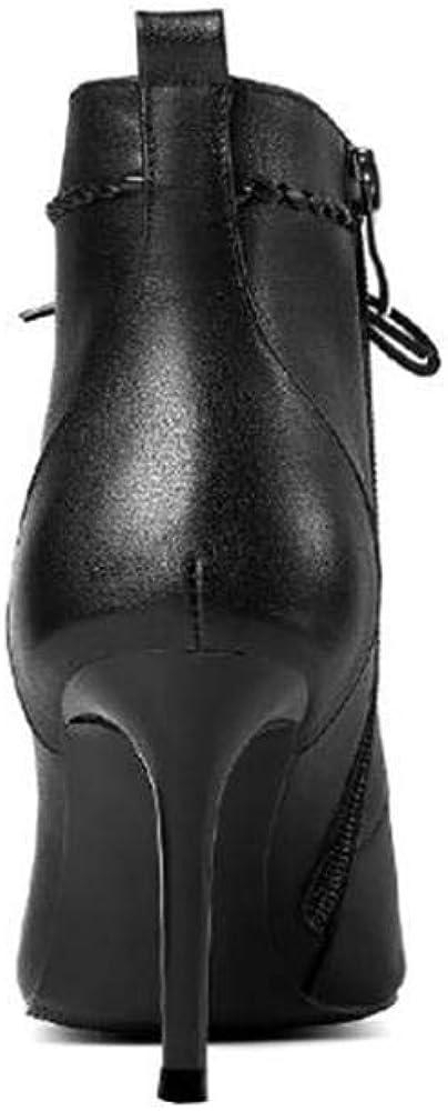 LXQLFY Stivali da Donna, Stivali da Donna in Pelle, Stivali a Punta in Pelle con Tacco Alto, Stringate, Stivali da Donna Nero