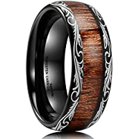 King Will Nature Tungsten Carbide Ring with Koa Wood Inlay Wedding Bands for Men Dome Edge Comfort Fit
