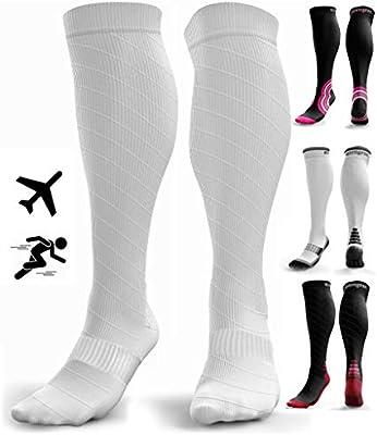Calcetines de Compresión para Hombres y Mujeres - Medias de Compresion para Deporte - Maratones - Enfermeras - Estrés tibial Interior - Durante Embarazo (S/M (35-42), Blanco (sin logotipo)): Amazon.es: Salud y cuidado personal