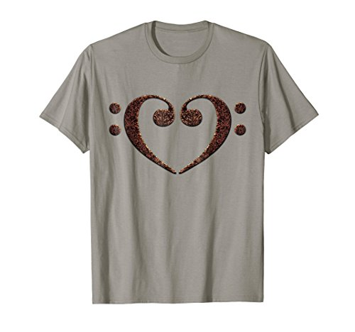Double Bass Clef Heart Rust and Black Music Lover Bassist T-Shirt