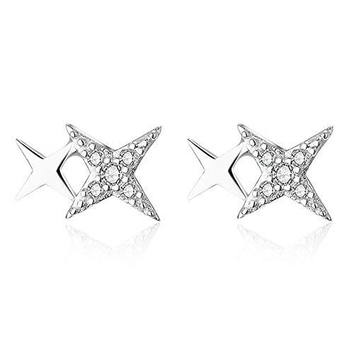 AVECON 925 Sterling Silver Four-Pointed Star Cubic Zirconial Stud Earrings Double Cross Polish Hypoallergenic Earrings for Women (Star)