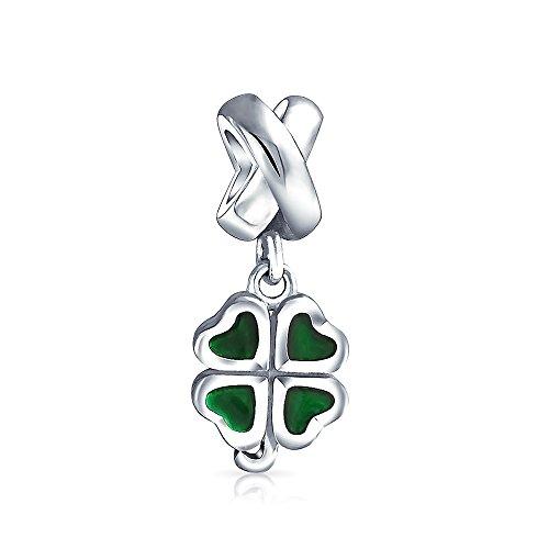 Celtic Lucky Leaf Clover Green Shamrock Irish Dangle Bead Charm For Women 925 Sterling Silver