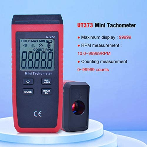 HMY UT373 Mini Digital Laser Tachometer Non-Contact Tachometer Measuring Range 10-99999RPM Tachometer Odometer Km//H Backlight