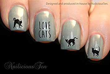 Amazon.com: nailicious diez Love diseño de gatos envolturas ...