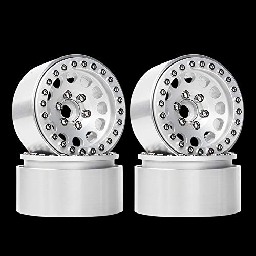 INJORA 1.9 Beadlock Wheels Rims for 1/10 RC Crawler Axial SCX10 SCX10 II 90046 Traxxas TRX4 D90, 4Pcs/Set, Aluminum Alloy (Silver)