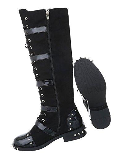 Damen Schuhe Stiefel Nieten Schnürer Schwarz