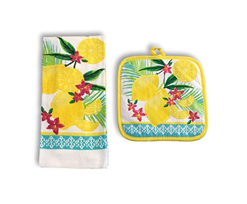 Summer Melamine Plates, Trays & Kitchen Towel & Pot Holder Sets - Watermelon, Lemons, Hummingbirds, Toucan & Hibiscus Designs (Kitchen Set - 1 Towel & 1 Potholder, Lemons & Lemon Slices) (Pot Hummingbird Holder)