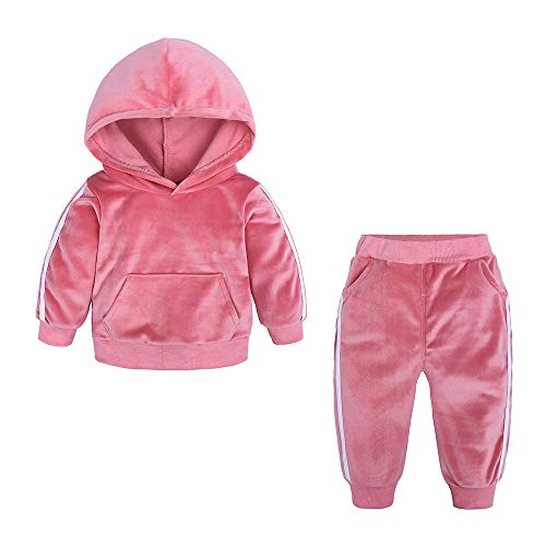 Kids Tales Boys Girls 2Pcs Velvet Hooded Tracksuit Top + Sweatpants Outfits Set(12M-8T) Pink -