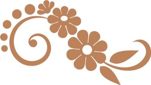 WANDTATTOO / Wandaufkleber f55 schönes Tribal mit hübschen Blümchen 160x90 cm - hellbraun