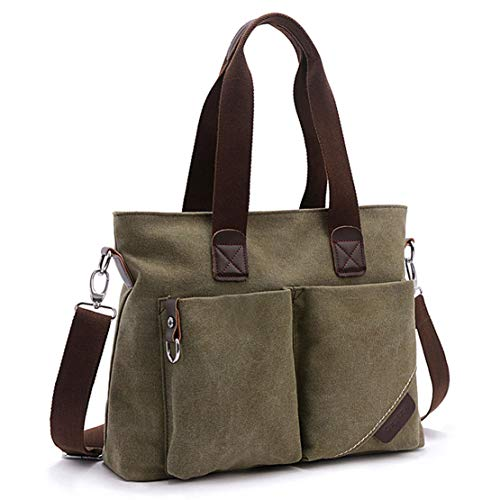 (ToLFE Women Top Handle Satchel Handbags Tote Purse Shoulder Bag (Army Green-(large)))