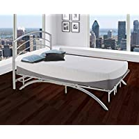 Boyd Sleep Arched Platform Bed Frame/Metal Mattress Foundation with Headboard, Silver, Twin