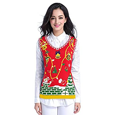 v28 Ugly Christmas Sweater for Women Vintage Funny Merry Vest Knit Sweaters at Women's Clothing store