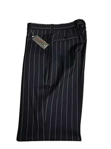 Zanella Men's Italian Designer Trouser Suit Pants with Pleat (US- 34 Waist, Blue Pin Stripe (TUCKER) Wool) - Pleats Wool Trousers