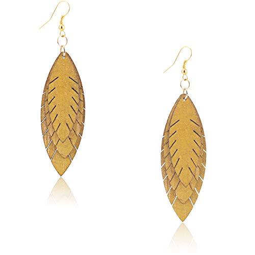 Zhenhui Fall Earrings for Women Three Layers Autumn Leaves Leather Drop Earrings for Women Girl,Lightweight Leather Leaf Dangle Fall Jewelry (Yellow)