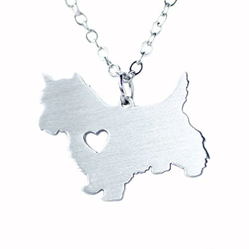 Silver Tone I Love My Dog Lover Heart Outline Pet Puppy Pendant Necklace Scottish Terrier