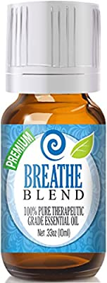 Breathe Blend 100% Pure, Best Therapeutic Grade Essential Oil - Comparable to DoTerra's Breathe & Young Living's Raven Blend - Peppermint, Eucalyptus, Lemon, Tea Tree, Ravensara