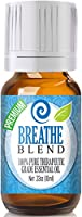 Breathe Blend 100% Pure Best Therapeutic Grade Essential Oil - 10ml - Comparable to Doterra Breathe Young Living Raven Eden's Exhale Inhale Respiratory and Sinus Relief - Breathe Easy / Easier - Peppermint Rosemary Lemon Eucalyptus