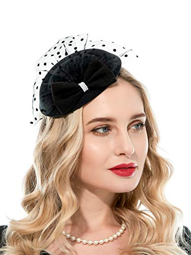 Zivyes Fascinator Hats for Women 20s 50s Hat Pillbox Hat with Veil Headband Clip Tea Party Headwear (Black) ()