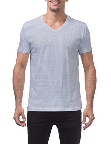 Pro Club Men's Lightweight Ringspun Cotton Short Sleeve V-Neck T-Shirt, 3X-Large, Heather Gray -
