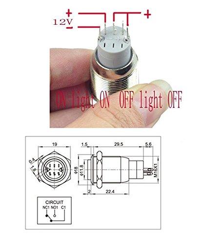 HOTSYSTEM 16mm 12V Selbsthaltender Schalter Metall LED Beleuchtet ...