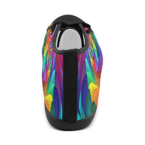 Artsadd Psichedelico Arcobaleno Spirale Alta Scarpe Di Tela Per Le Donne (model002) Multi Color3
