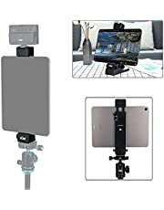 2 in 1 Versatile Tablet Tripod Mount and Desktop Stand, Tablet Tripod Clamp Holder with Cold Shoe for iPad Pro Air Mini, Fire Tablets, Samsung Galaxy Tabs to be Used on Tripod, Selfie Stick & Desk