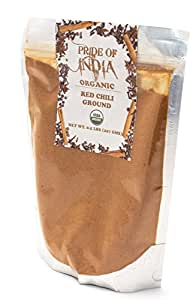 Pride Of India - Organic Red Chilli Pepper Ground (Powder, Extra Fine), Half Pound
