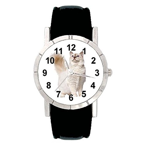 Birman Strap - Timest - Birman Cat - Womens Wrist Watch with Leather Strap in Black Round Analog Quartz SA2426