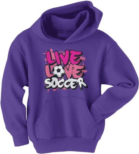 Threadrock Big Girls' Live Love Soccer Youth Hoodie Sweatshirt L Purple ()
