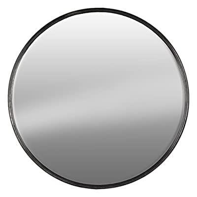 Urban Trends Metal Round Wall Mirrror SM Tarnished Finish Gunmetal Gray - Item Type: mirror Item material: metal Item finish: tarnished finish - bathroom-mirrors, bathroom-accessories, bathroom - 41j hh3iAcL. SS400  -