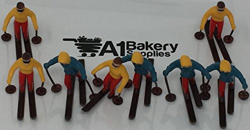 A1BakerySupplies Cup Cake Decorating Pick Cupcake Decorator ( 8 piece Skiers Set)