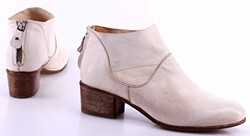 Zapatos Mujer Botines MOMA Siviglia Gess Vintage Cuero Blanco Made Italy Lujo