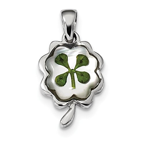 (925 Sterling Silver Platinum Plated Leaf Clover Epoxy Sea Shell Mermaid Nautical Jewelry Pendant Charm Necklace Good Luck Italian Horn Fine Jewelry Gifts For Women For Her)