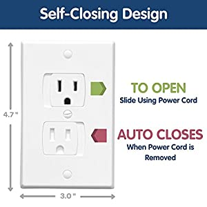 Wittle Self Closing Outlet Covers (6 White) Plus 12 Clear Plug Cover Outlet Protectors   Baby Proofing Outlets with Electrical Child Safety Kit!