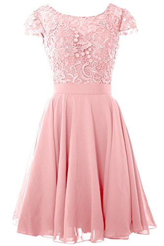 MACloth Women Cap Sleeve Mother of the Bride Dress Lace Short Formal Party Gown (16w, Blush Pink)