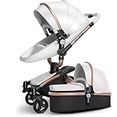 High Quality Compact Vintage Stylish Luxury Baby Stroller:   The durable anti-shock swiveling front wheels,larger anti-abrasion lockable rear wheels and streamlined design with high quality PU leather gives you more without weighing you down....