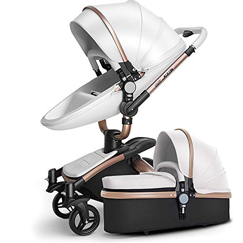 SpringBuds Baby Stroller Bassinet Carriage Combo 360 Rotation 3-in-1 Shock-Resistant High Landscape Luxury Pram Stroller for Newborn and Toddler -White