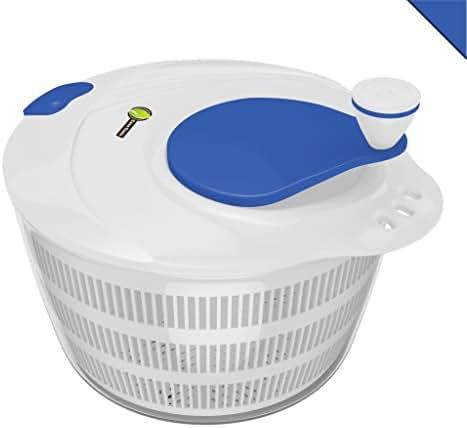 Salad Spinner Large Serving Bowl Set - QUICK DRY DESIGN & DISHWASHER SAFE - BPA Free Plastic Base & Blue Lid - No Pump Pull String or Cord Needed, Turn Knob Drys Fruits & Vegetables Fast - Cave Tools