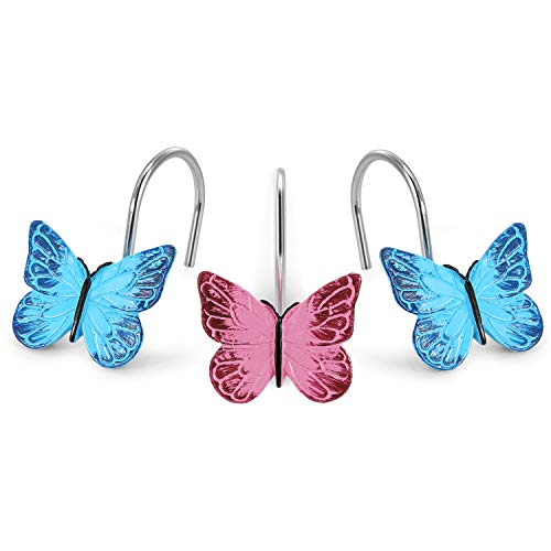 AGPTEK 12PCS Home Fashions Butterfly Anti Rust Decorative Resin Hooks for Bathroom Shower Curtain,Bedroom,Living Room Curtain-Pink and -