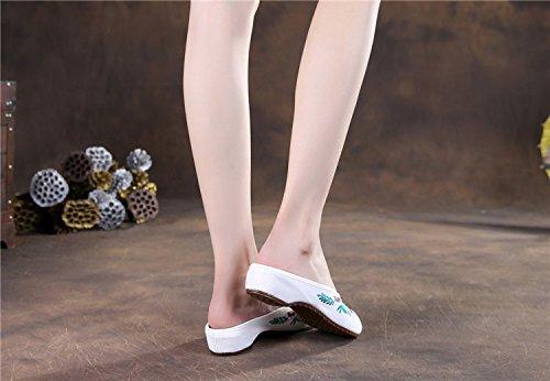 de Broderie Toile Femmes Heronbill Occasionnels Blanc Pantoufles Pantoufles Tournesol Fanwer 4ExUBw5qx
