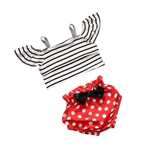 3Pcs/Set Mothers Day Outfits Infant Baby Girls Clothes Short Sleeve Halter Striped Top Polka Dot Bow Briefs with Headband ()