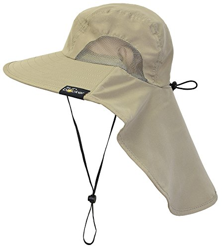 Sun Blocker Outdoor Sun Protection Fishing Cap with Neck Flap, Wide Brim Sun Hat for Travel Camping Hiking Hunting Boating Safari Cap with Adjustable Drawstring, Olive