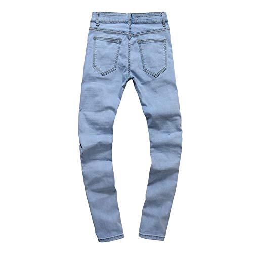 Casual Strappati Uomo Jeans Skinny Da Slim Con Classiche Stretch Blau Fit Pantaloni Used Effetto Cerniera Ragazzi wP7Px1rEq