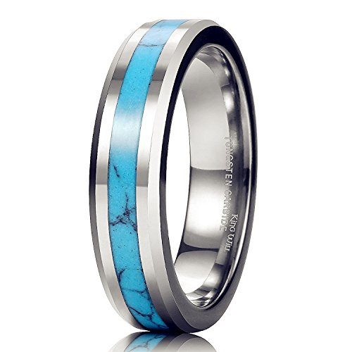 Blue Turquoise Inlay Ring - King Will NATURE 6mm Tungsten Metal Ring Blue Turquoise Inlay Polish Beveled Edge Wedding Band(10.5)