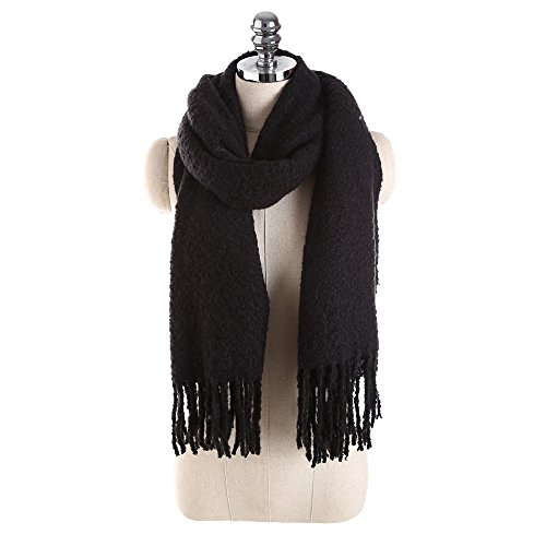 Sothread Women's Cashmere Scarf Pashmina Solid Color Tassel Shawl Wrap Scarves 60x175cm (Black)