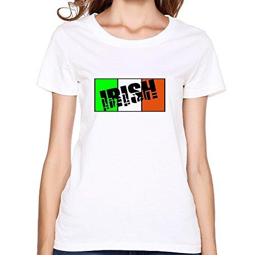PTHZ Women's Irish Cotton T Shirt Tee White L